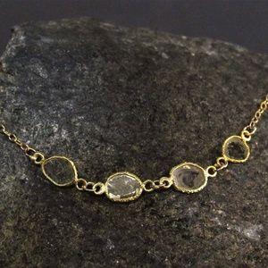 14K yellow gold bracelet with Slices rough diamond